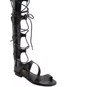 NEWSeychelles Gladiator Tall Sandals Black Leather